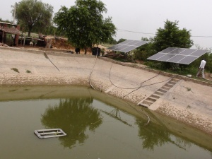 Water harvesting for solar pump